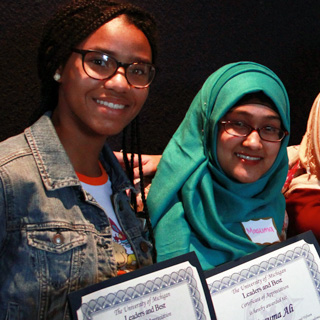 students accepting awards